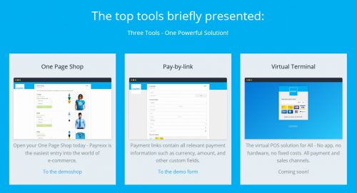 """Payrexx rend le paiement accessible par boutique """"monopage"""", par un lien """"simple"""" ou encore par """"Terminal virtuel""""."""