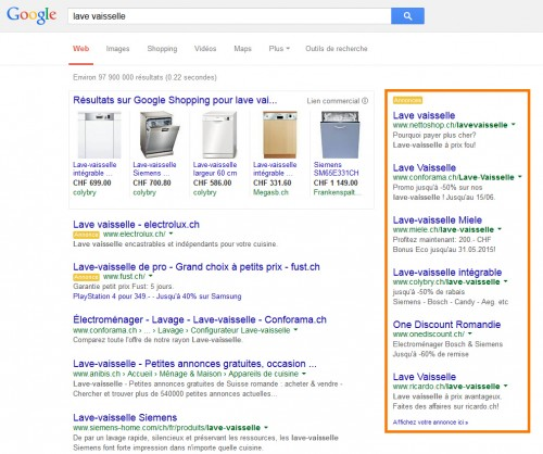 Exemple de campagne Google Adwords