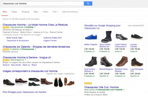 Exemple de campagne Google Shopping