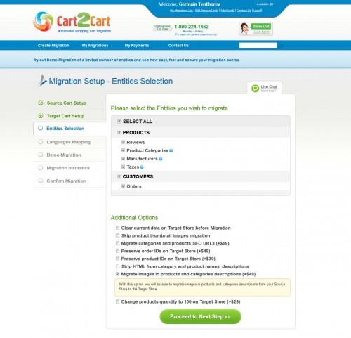 On peut transférer les données essentielles, clients produits, commandes...