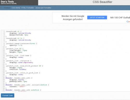 Nettoyer le CSS aide à mieux comprendre où se trouve le bug, car parfois les fichiers sources sont très touffus et denses.