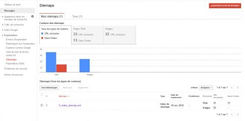 Prenez le temps de regarder 1x par semaine, si votre sitemap est toujours correctement supporté par Google. Cela vous permettra aussi de voir l'évolution du nombre de page dans l'index du moteur de Google.