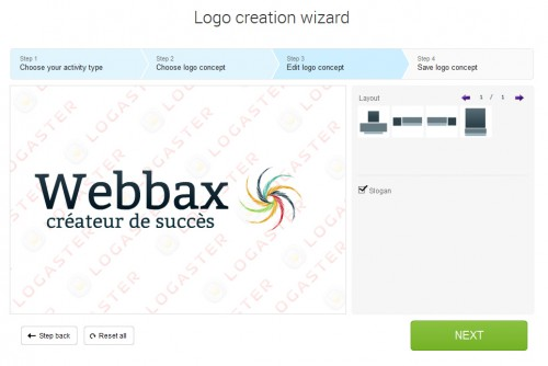 A l'étape 3 on peut modifier le logo choisir... l'apparence et le tester aussi sur des fonds différents pour se faire une idée du rendu.