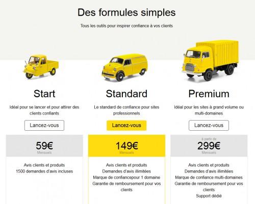 Avant le pack à 59 EUR était gratuit, mais ce n'est certainement pas un hasard, ils ont dû s'aligner sur les prix de la concurrence comme par exemple sur l'offre de base proposée par Avis Vérifiés.