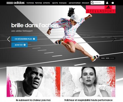 Même Adidas propose un slider à l'accueil de son site pour inciter à l'achat... mais qui a dit que c'était la règle absolue à suivre ?
