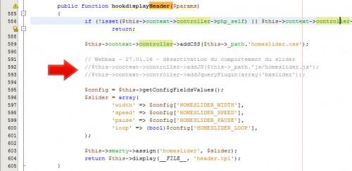 En commentant ces deux lignes, le module perdra son comportement de slider et affichera une image fixe.