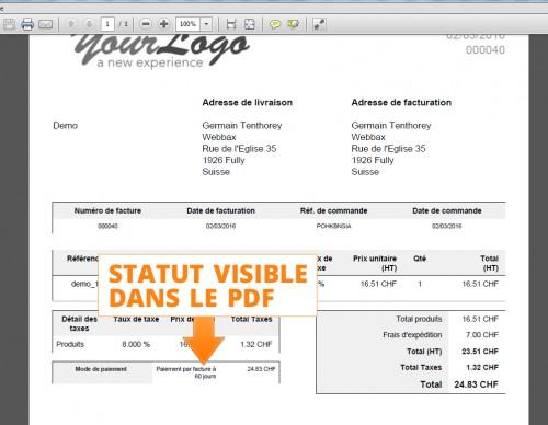 Dans la facture PDF la trace des conditions en jours facilite et justifie la relance de paiement / rappels.