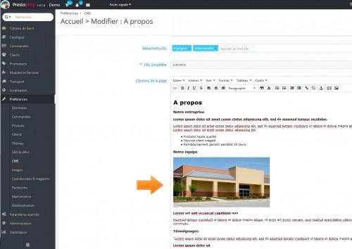 La création de contenu via page CMS reste assez fastidieux... inclure une image oui c'est possible, mais la mise en forme n'est pas pensée pour le responsive.