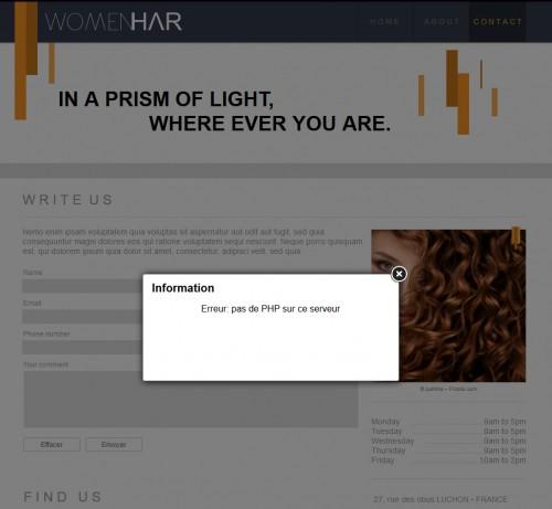 Il faudra oublier le formulaire de contact et mettre un simple lien vers votre adresse e-mail... et oui pas de PHP, pas de formulaires.