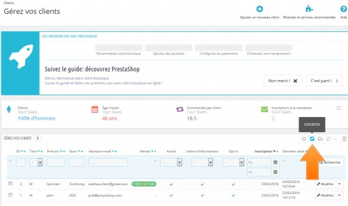 Le bouton d'export s'affiche dans quasiment tous les listings proposés par Prestashop.