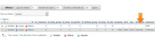 Dans la base de données sous PHPmyAdmin, le champ est effectivement vide, on va donc le remplir avec une valeur.