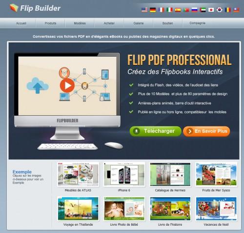 Flip Builder est une application qui va vous permettre de réaliser simplement un catalogue dynamique. A noter que cela évite aussi au client qui vient sur le site de charger un catalogue PDF entier, le chargement est beaucoup plus rapide, car il est morcelé (page par page).