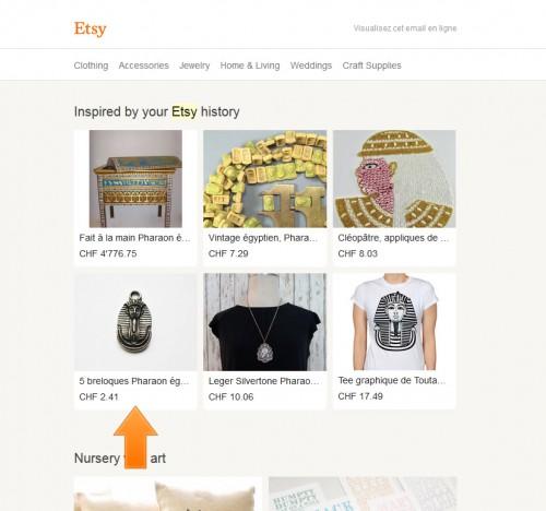 Pour une fois je reçois des suggestions intéressantes qui me donnent envie d'acheter, Etsy a réussi son pari.