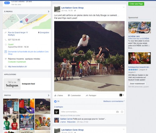 Sur Facebook on s'intègre dans les événements locaux, on montre qu'on est là le client s'identifie plus facilement à la marque, car lui-même était peut-être sur place lors de l'événement.