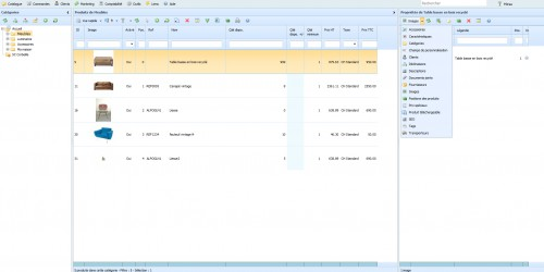 """Au niveau de l'interface, vous pouvez voir que le but est de se rapprocher d'une application """"logicielle"""". L'application web est connectée directement sur votre base de données Prestashop et présente une meilleure visualisation de vos données."""