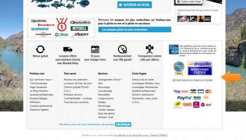 Avec tous ces logos et ces certifications, l'acheteur peut se sentir en confiance. Notez aussi plus bas le logo Décathlon, qui va mettre en confiance les clients français.