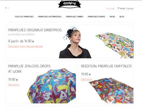 """Chez Dandyfrog, si on vend du parapluie c'est parce qu'il y a une réelle envie de création d'apporter quelque chose de nouveau (sur un marché de niche). Typiquement j'aime ça, d'ailleurs j'ai pris un parapluie chez eux, parce que c'était un produit """"différent"""" !"""