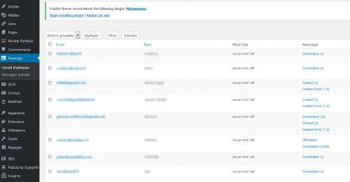Le plugin est capable de conserver une copie des mails ainsi que les autres informations soumises par l'utilisateur (aussi les commentaires du blog).
