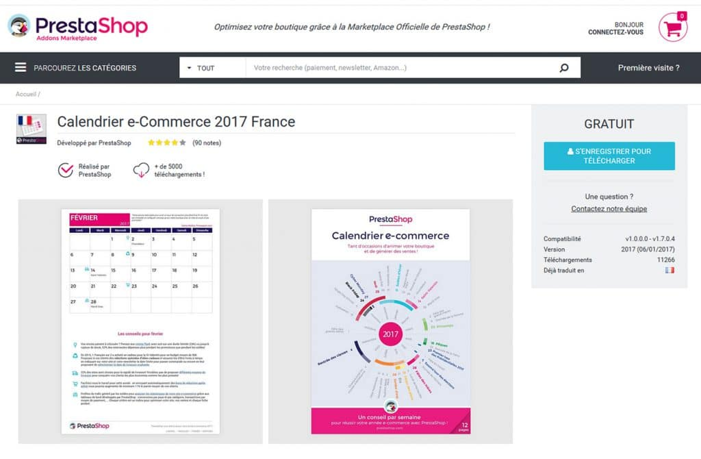 Calendrier e-commerce