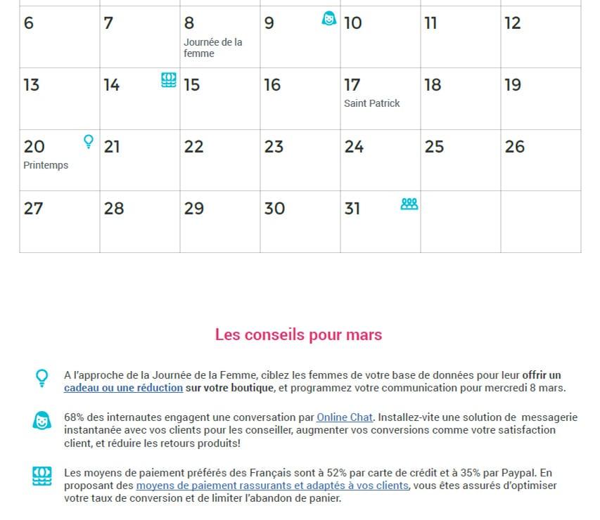 Détail mensuel calendrier