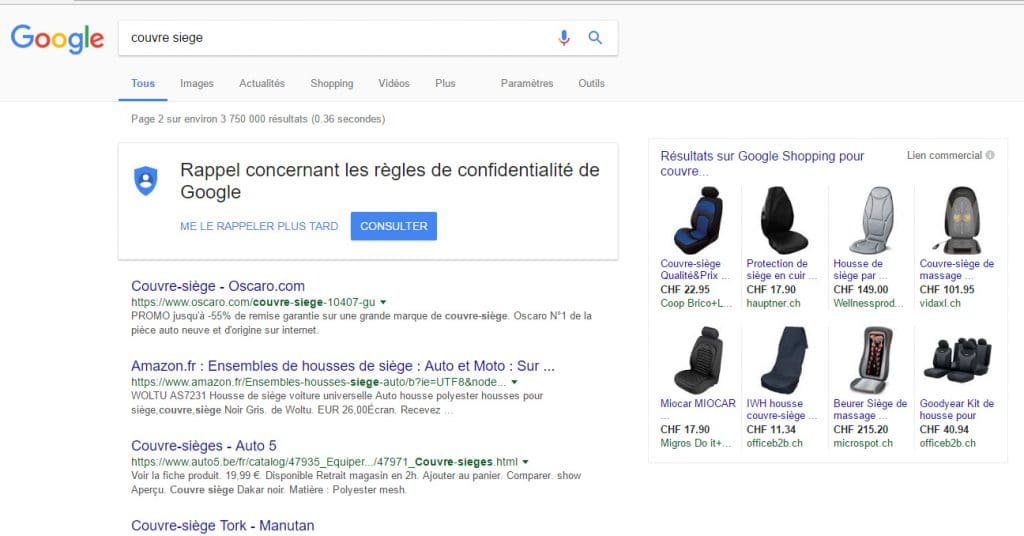 Liens commerciaux Google Shopping