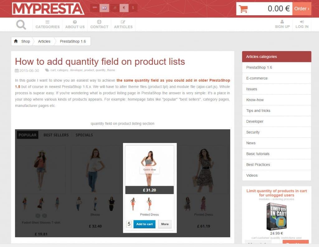 Quantité liste produits Prestashop