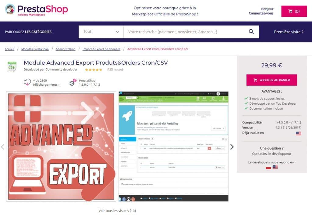 Module d'export CSV Prestashop