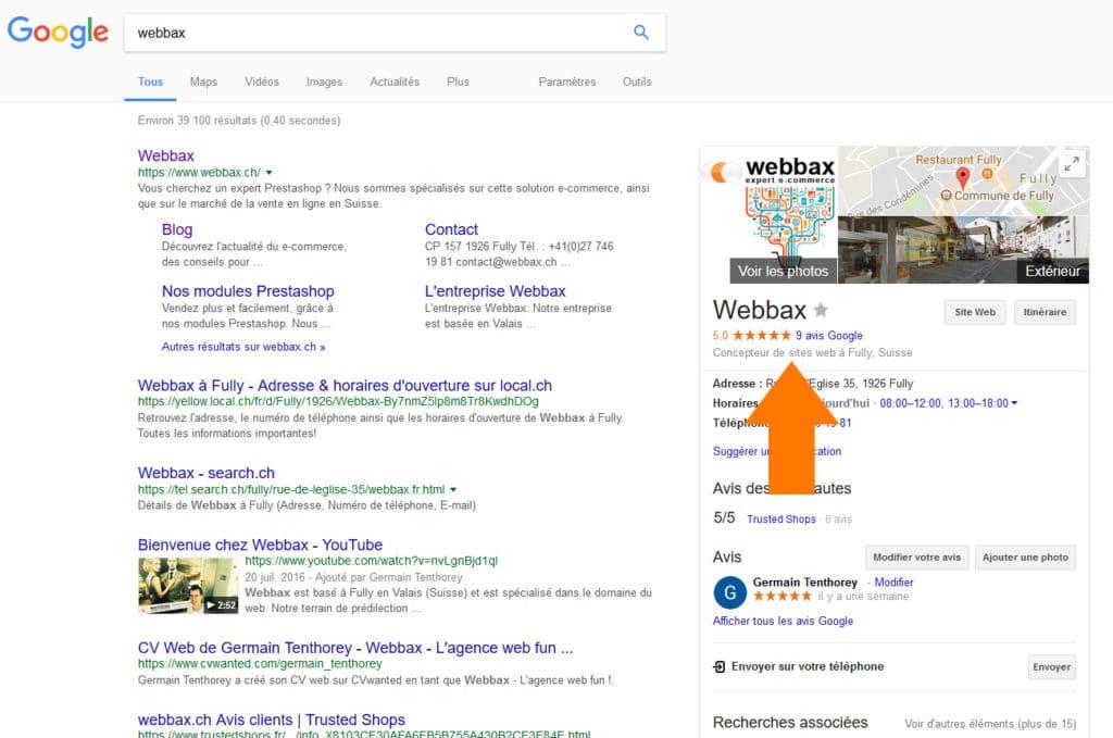 Avis Google sur Webbax