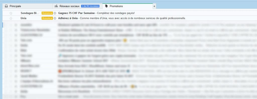 Promotion commerciale Gmail