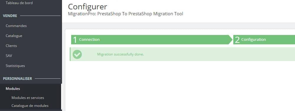 Migration de Prestashop avec succès