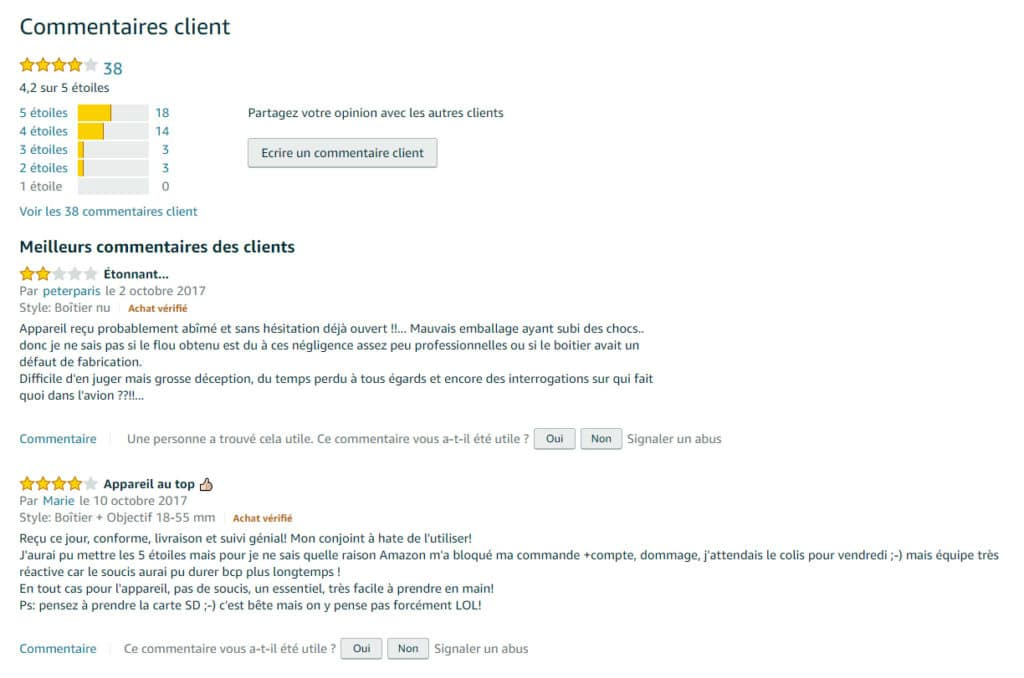 Avis clients sur Amazon