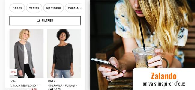Zalando, les catégories sur mobile