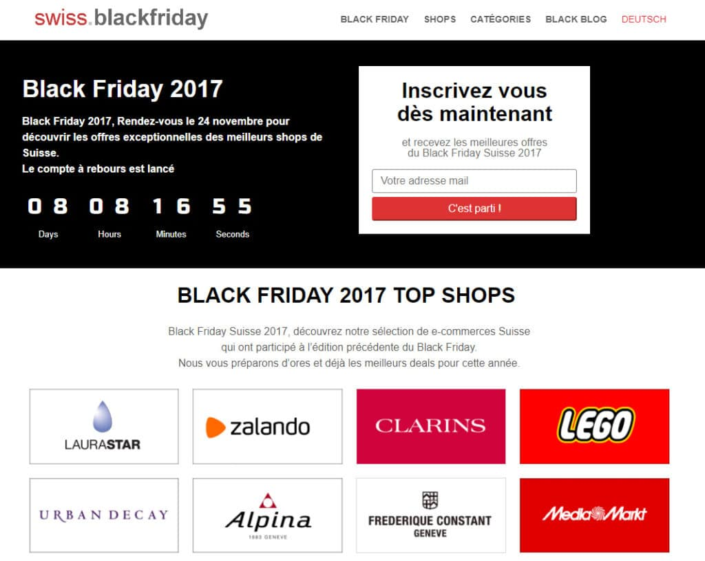 Black Friday sur Internet en Suisse