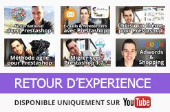 Je vous partage mon expérience sur le e-commerce et sur Prestashop en vidéo. Venez me voir sur YouTUBE !